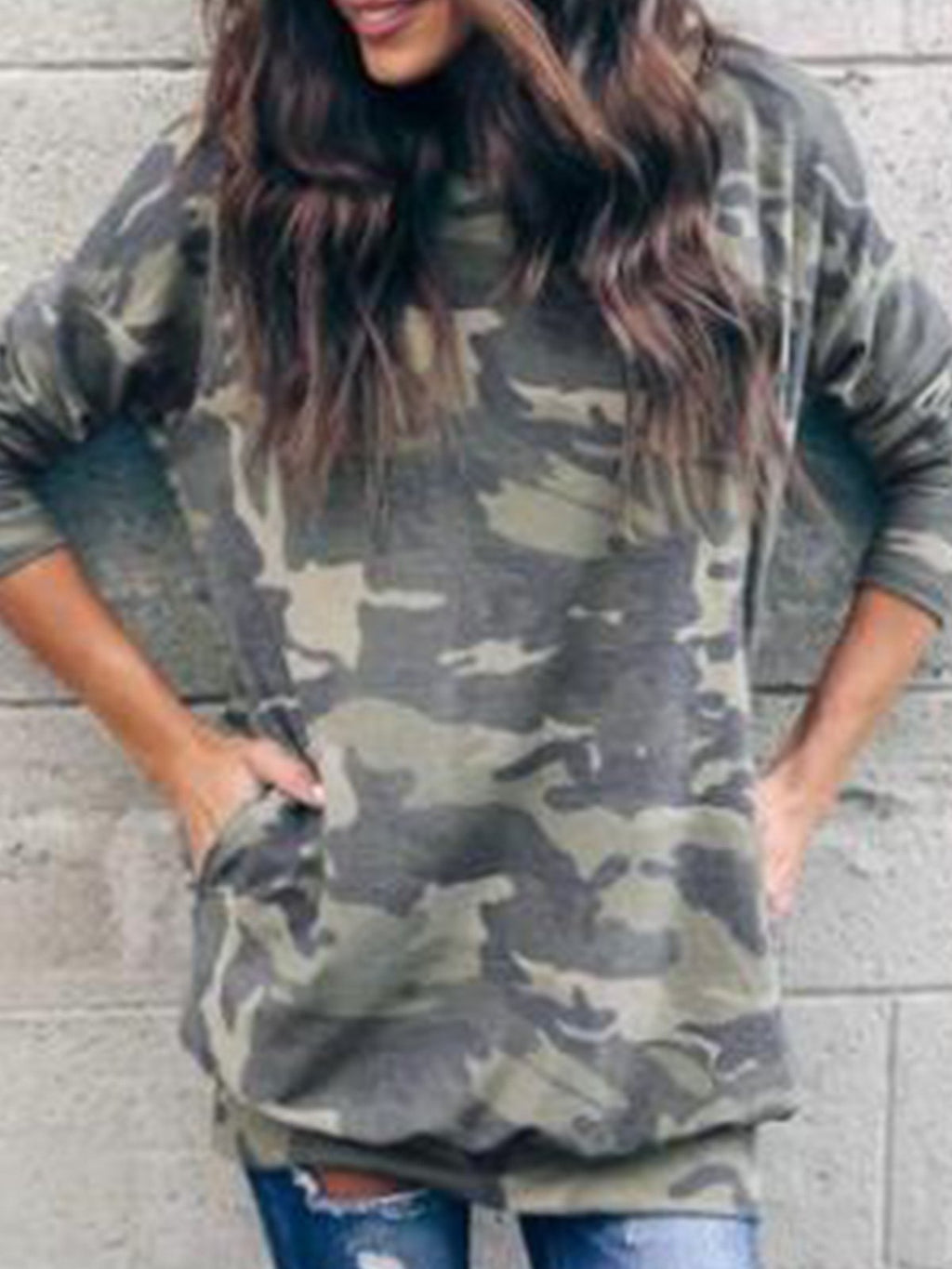 Casual Round Neck Camouflage Print Pocket Long Shirt - CandyShe