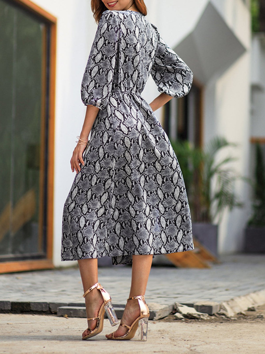 3/4 Sleeve Sneak Print Midi Spring Dress