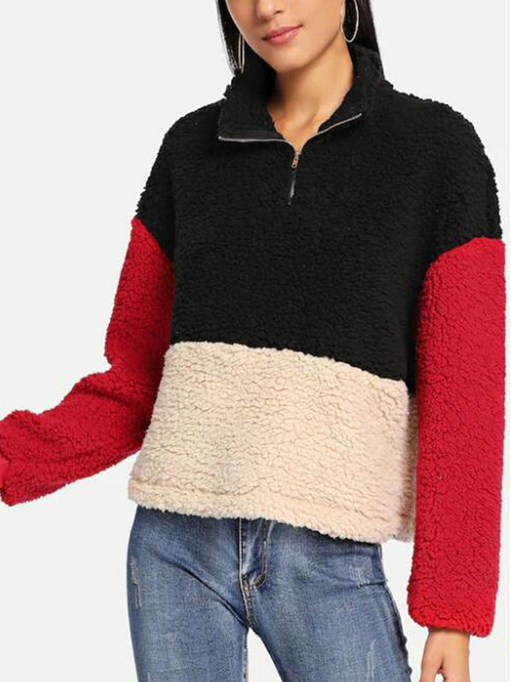 Stand Collar Thick Zipper Color Matching Plush Sweatshirt