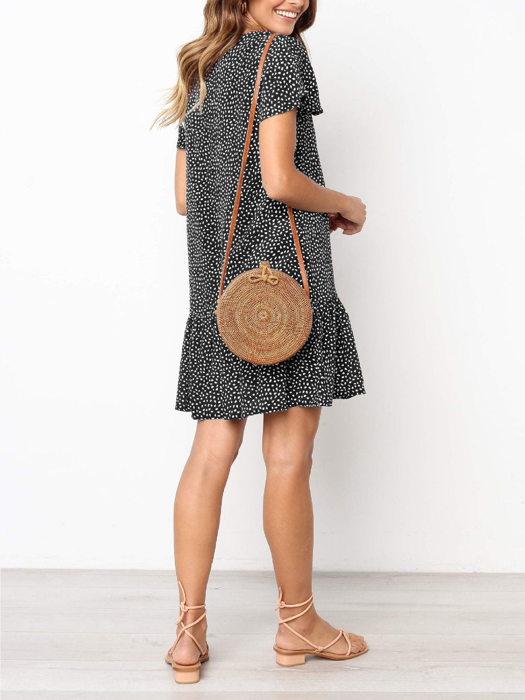 Fashion Polka Dot Print V Neck Button Flounce Dress