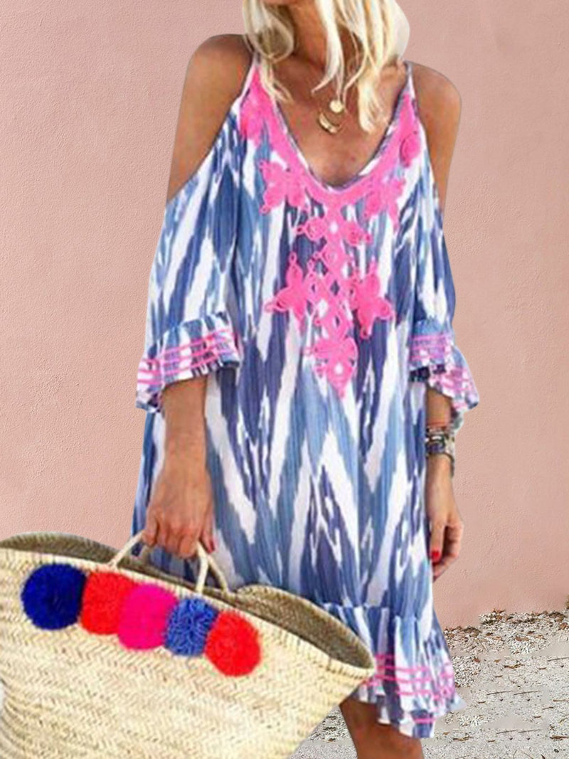 Cold Shoulder Floral Printed V Neck Vacation Dresses