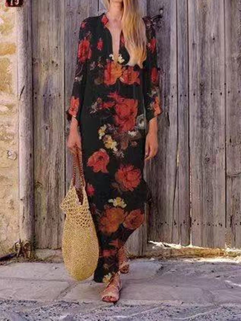 Linen Floral V Neck Long Sleeve Plus Size Maxi Dress