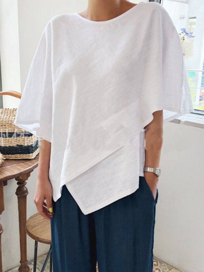 Solid Linen Round Neck 3/4 Sleeve Irregular T-shirt