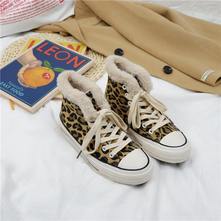 Warm Plus Velour Leopard Print Cotton Canvas Ankle Shoes
