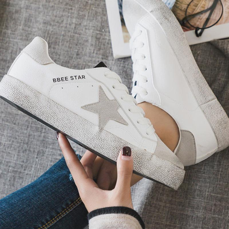 Women's Casual Distressed Artificial Leather Flat White Sneakers