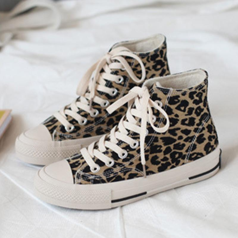 Women's Leopard Print Canvas High-top Casual Flat Sneakers