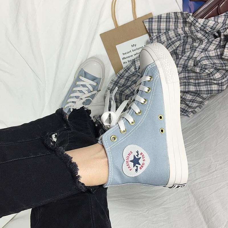 Women's Canvas High-top Classic Patchwork Chic Sneakers