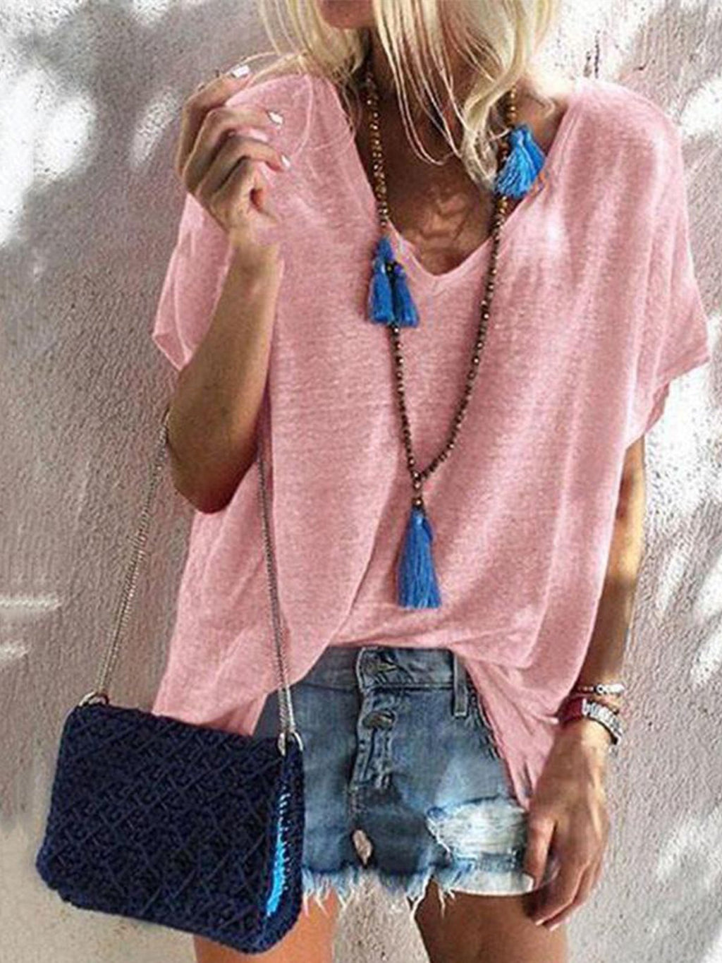 Cotton Solid V Neck Short Sleeve Loose T-shirt