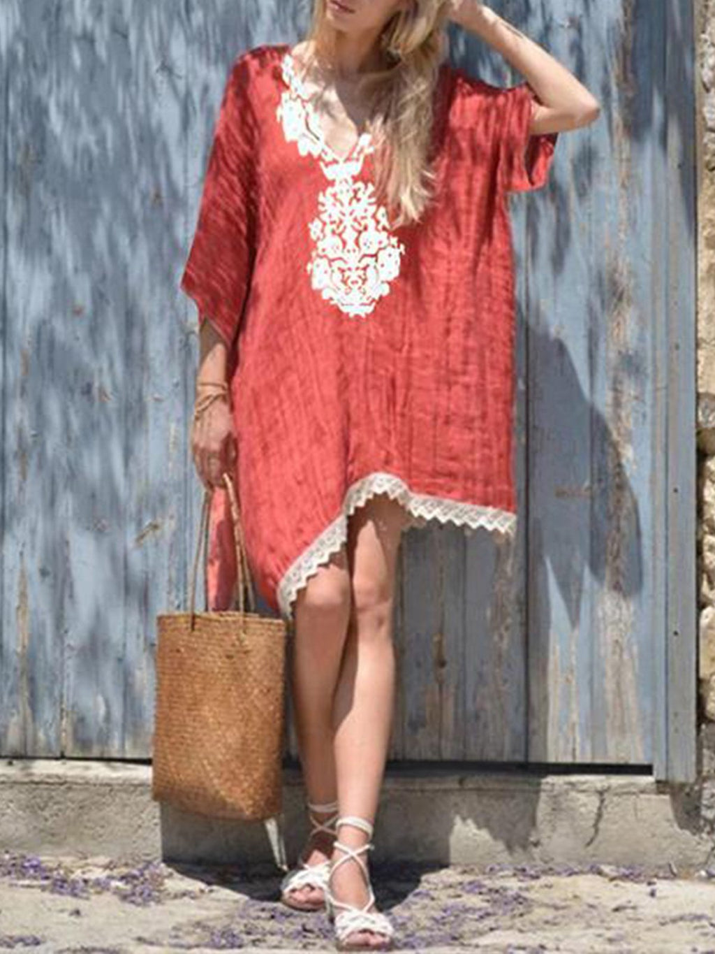 Solid V Neck 3/4 Sleeve Tassel Irregular Midi Dress