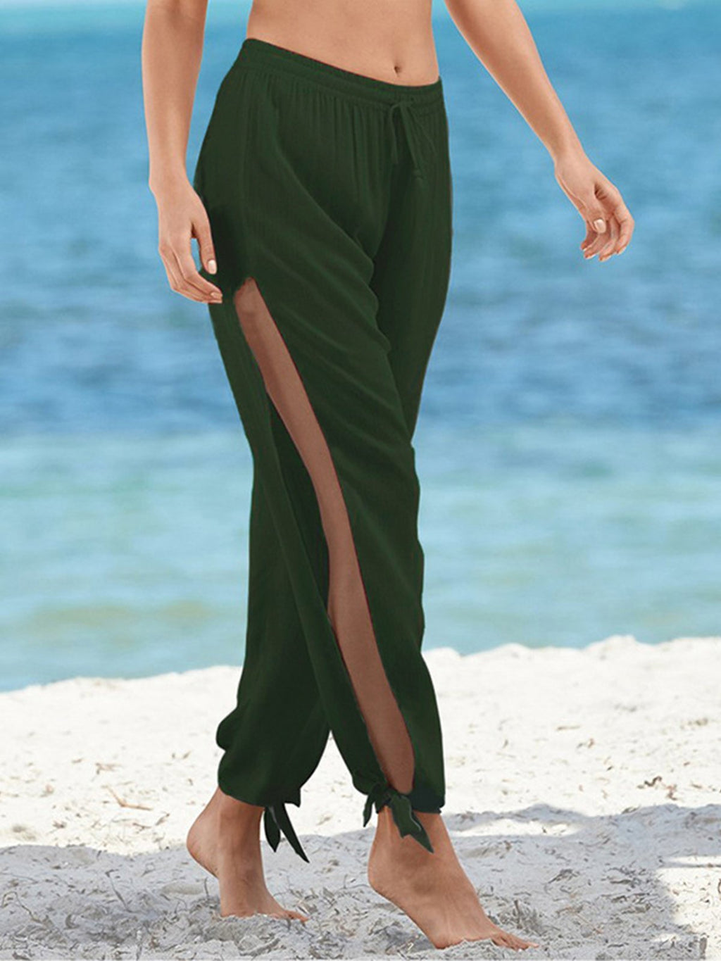 Solid Drawstring Low Waist Wide Leg Pants