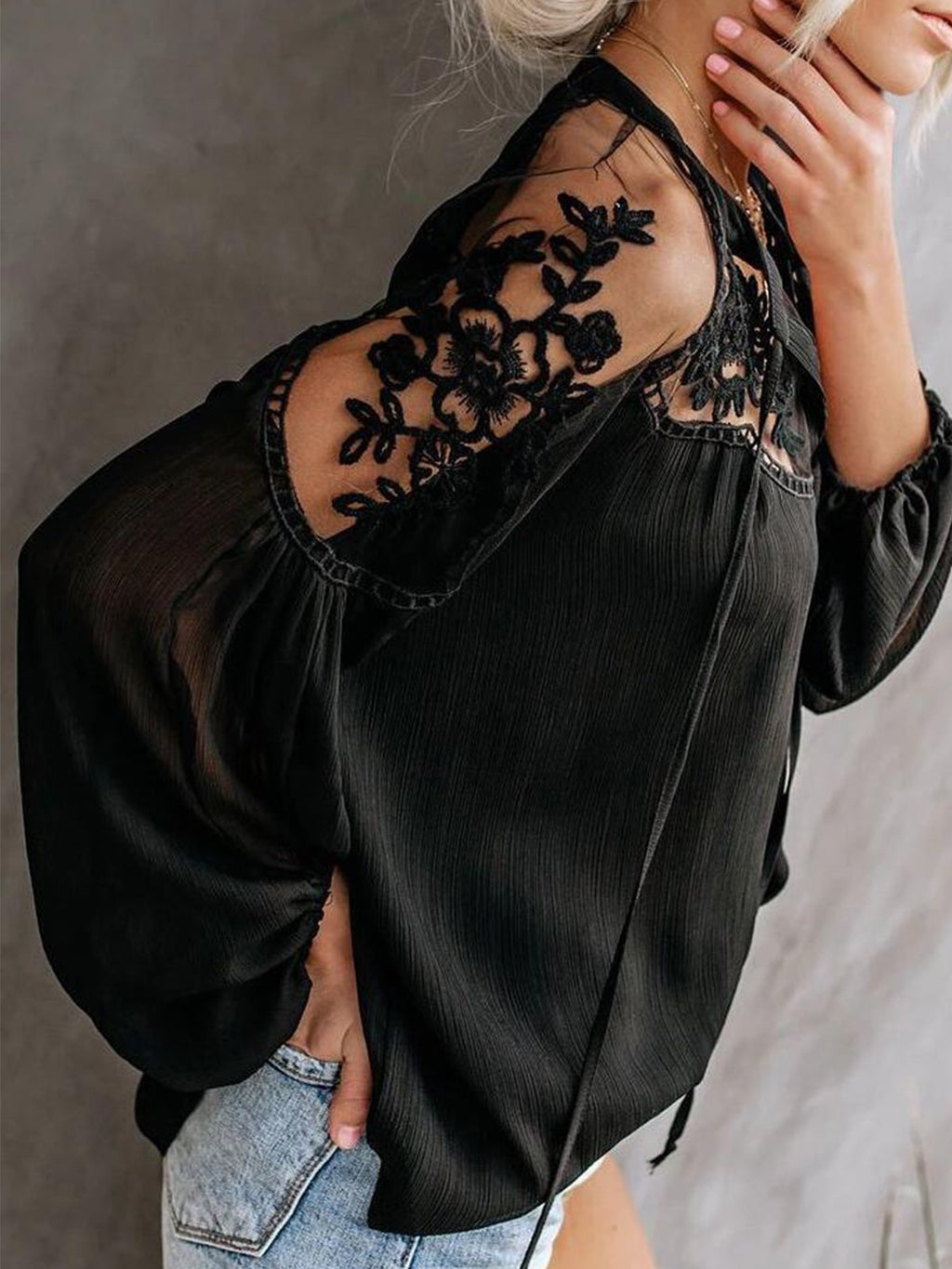 Solid Lace Round Neck Long Sleeve Hollow-out Sexy Blouse