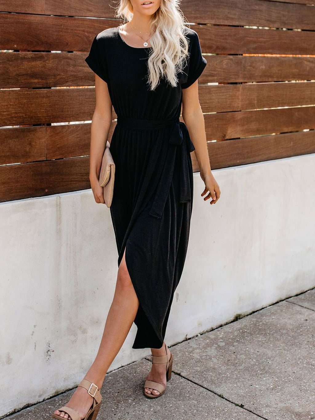 Solid Round Neck Short Sleeve Belted Maxi Dress