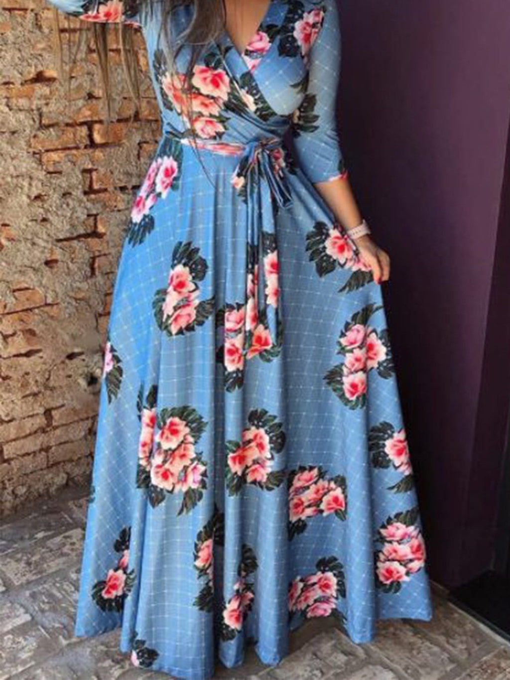 Floral V Neck 3/4 Sleeve Plus Size Evening Party Maxi Dress