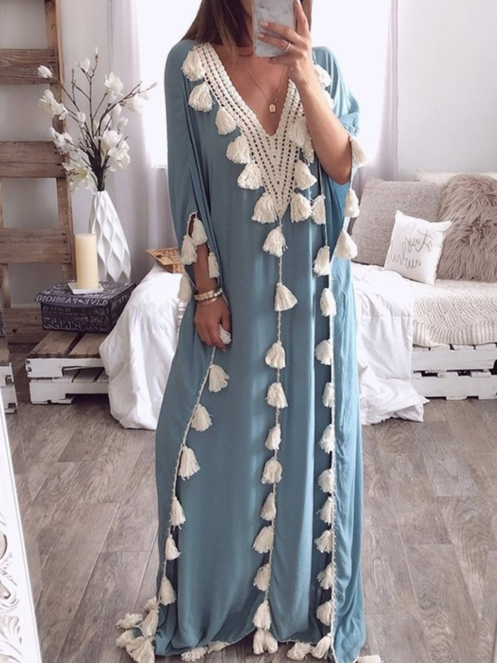 Bohemian Linen V Neck 3/4 Sleeve Tassels Maxi Dress