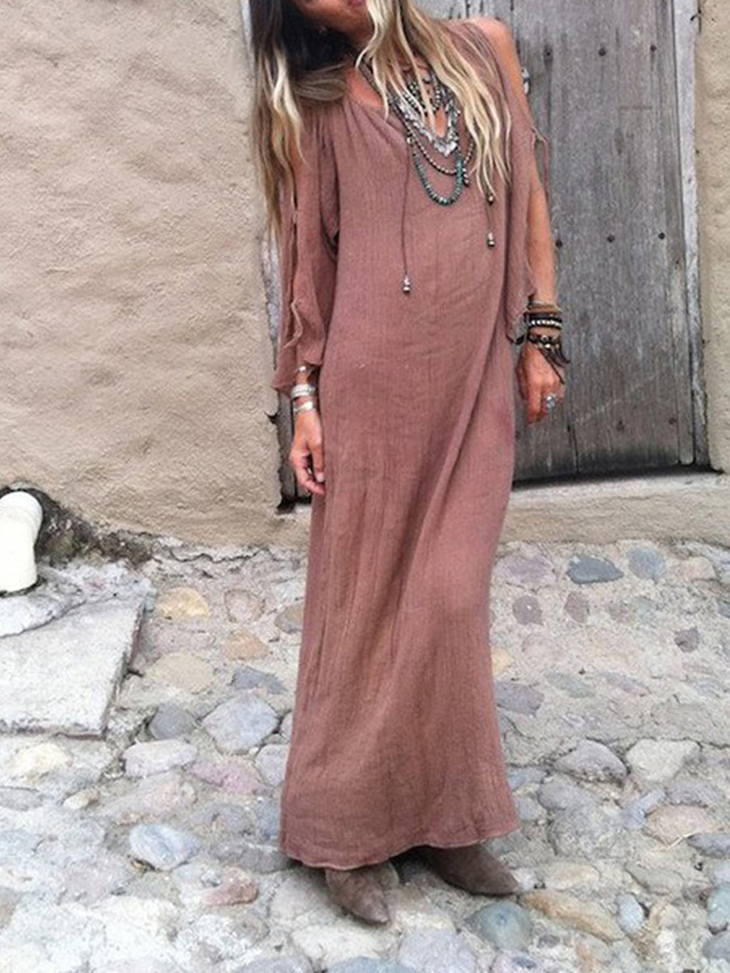 Solid Bohemian V Neck Bell Sleeve Lace-up Slit Maxi Dress
