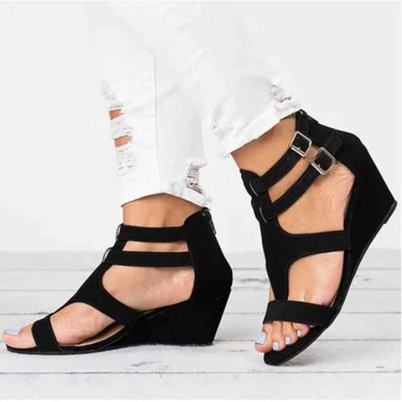 Women's Suede Round Toe Adjustable Buckle Wedge High Sandals