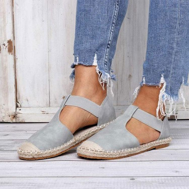 Women's Suede Round Toe Espadrille Casual Slip-On Flat Sandals