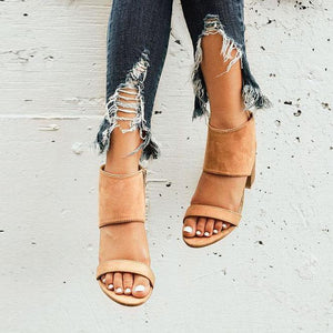 Women's PU Round Toe Zipper Middle Chunky Heel Sandals
