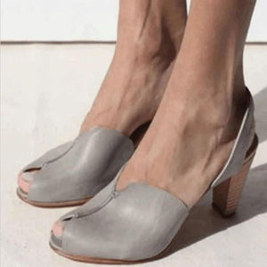 Women's PU Peep Toe Slip-On High Chunky Heel Sandals