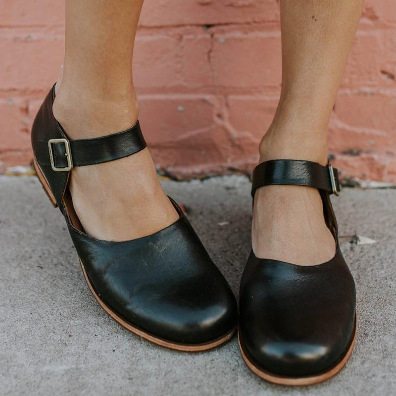 Vintage Round Toe Low Heels Buckle Student Mary Jane