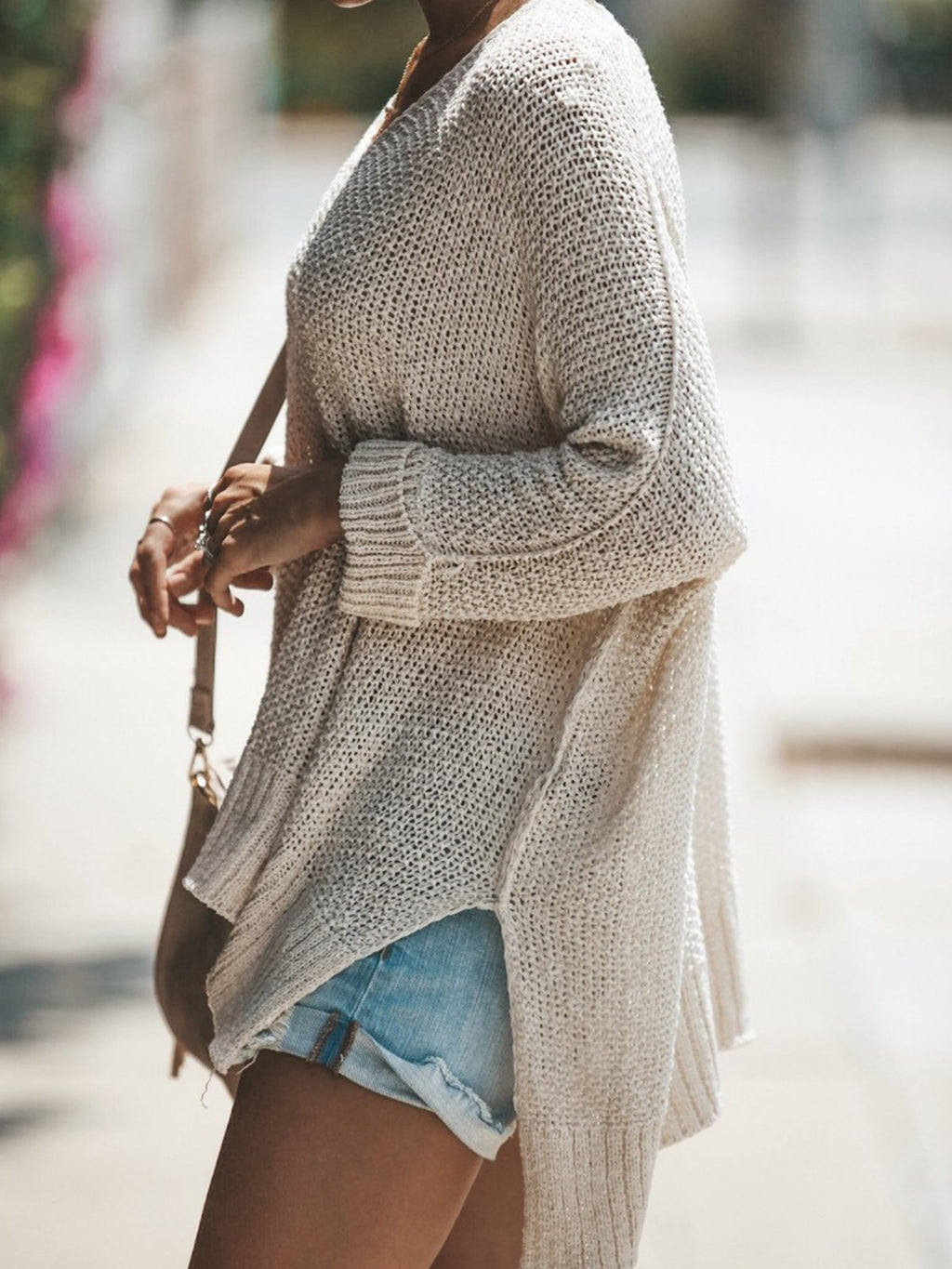 V Neck Slit Cotton Long Sleeve Pullover Sweater