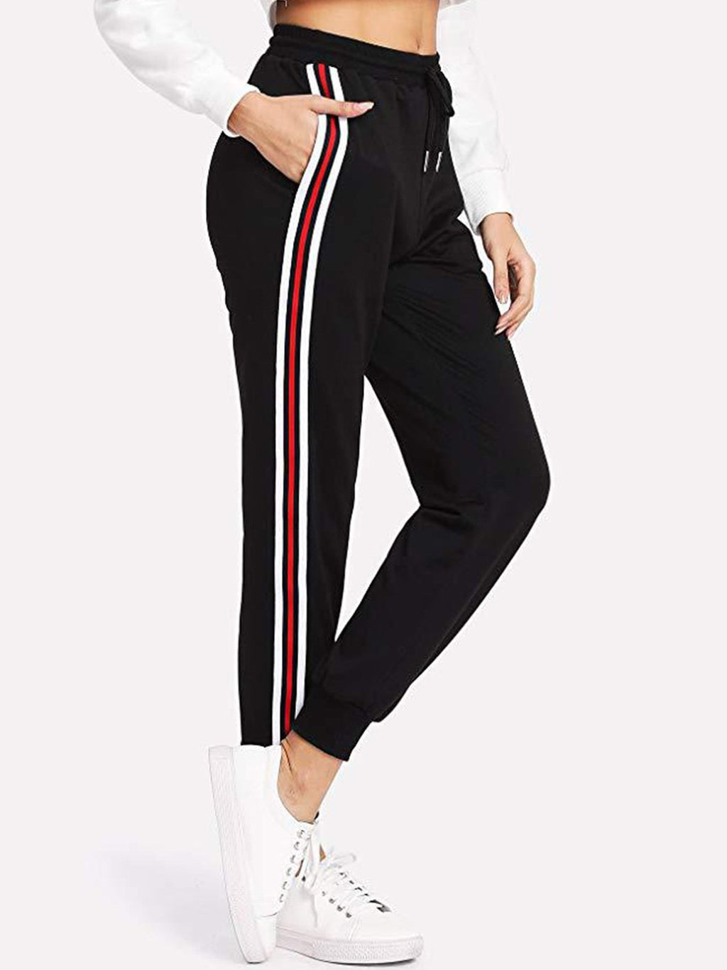 Contrast Stripe Along Side Seam Athletic Pants