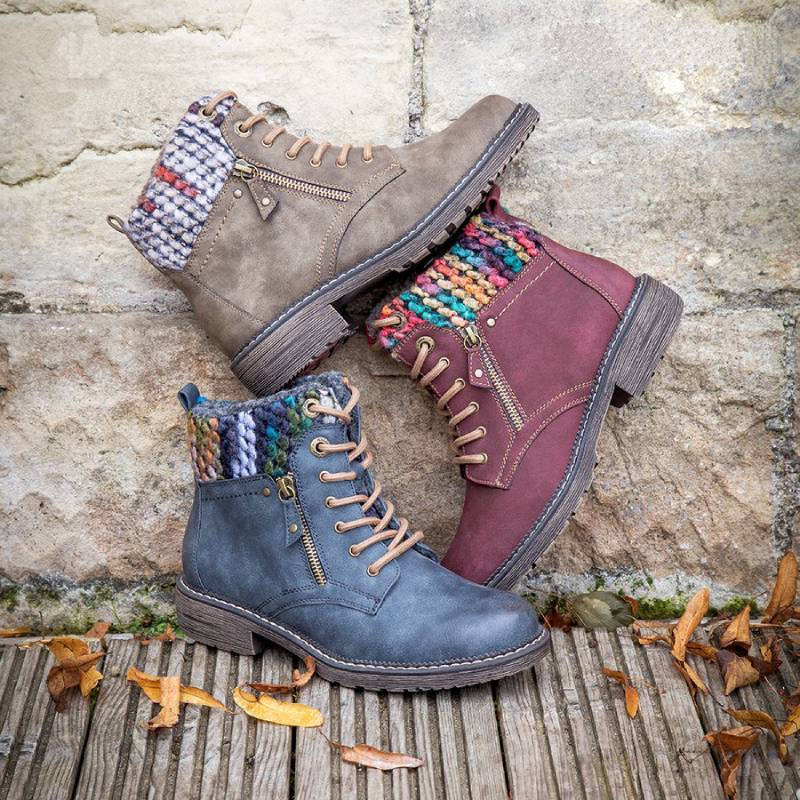Winter Casual Knitted Cuff Lace-up Boots