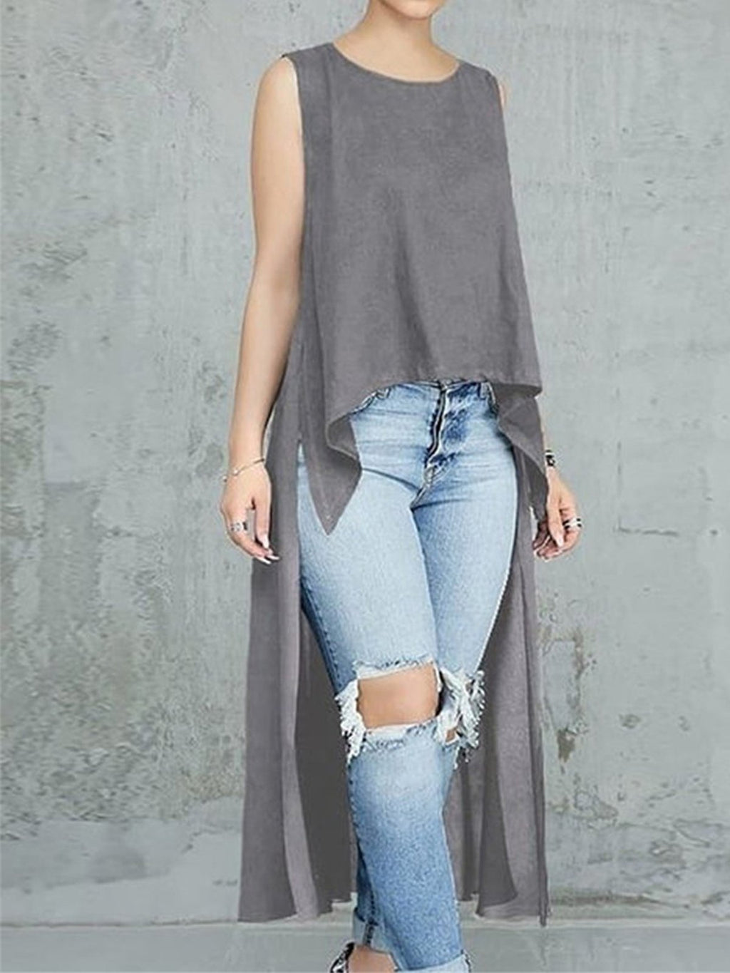 Solid Asymmetric Long Back Length Lengthen Blouse