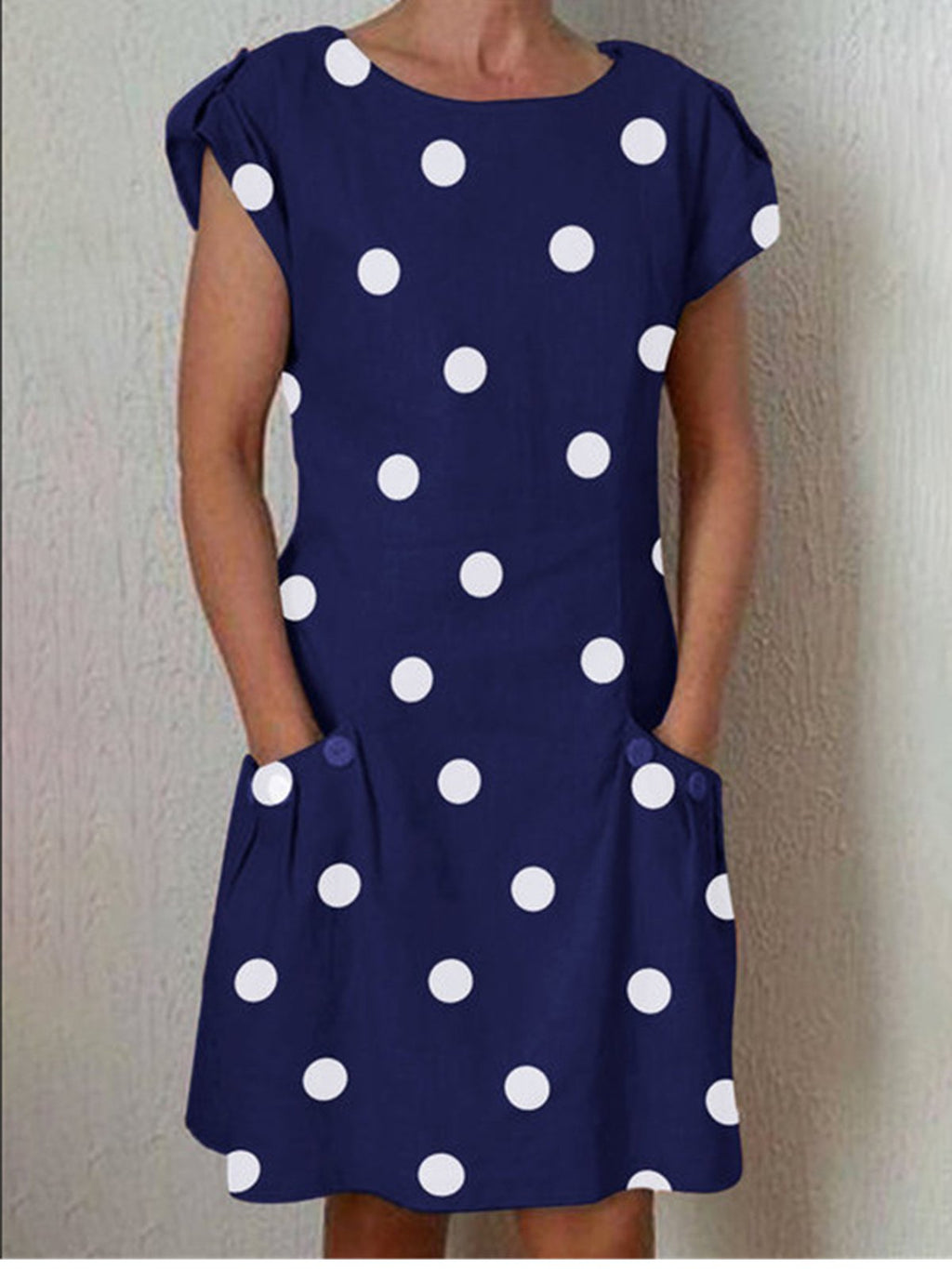 Dots Print Patch Pocket Short Sleeve Ajustable Sleeve Dress