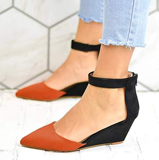 Women'S Fashion Casual Pointed Toe Wedges Sandals Ankle Strap Zipper Sho