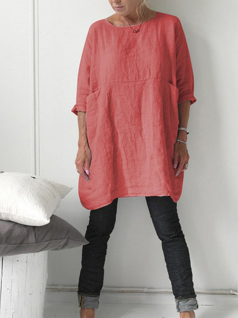 Solid Round Neck Long Sleeve Paneled Blouse