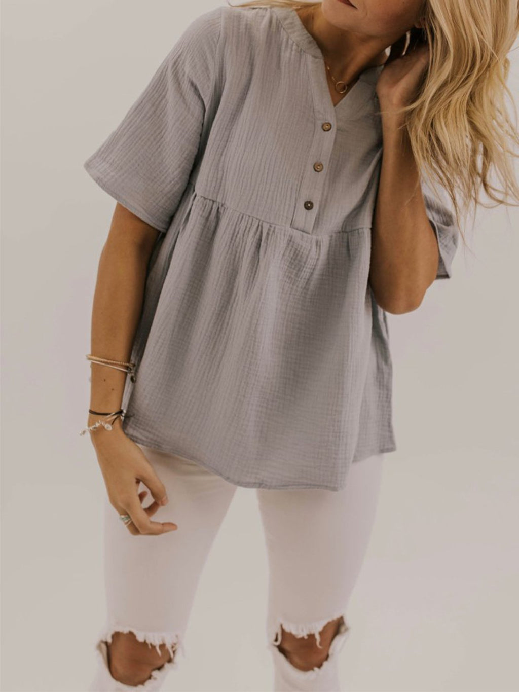 Solid V Neck Button Placket Wide Blouse