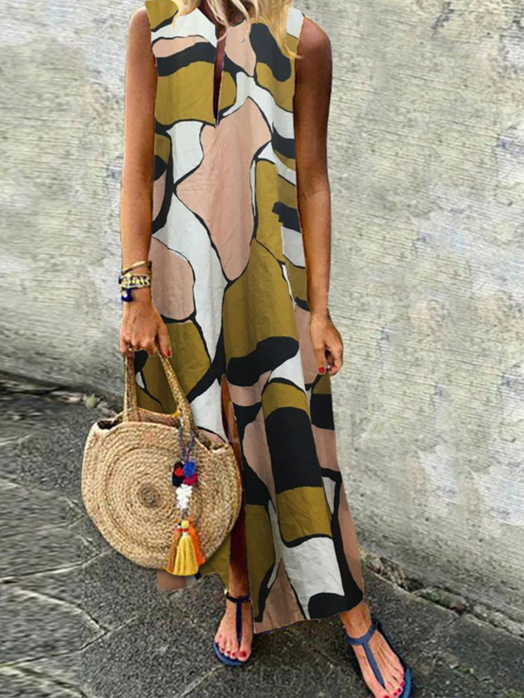 Slit Swing Hem Vest Printed Maxi Dress