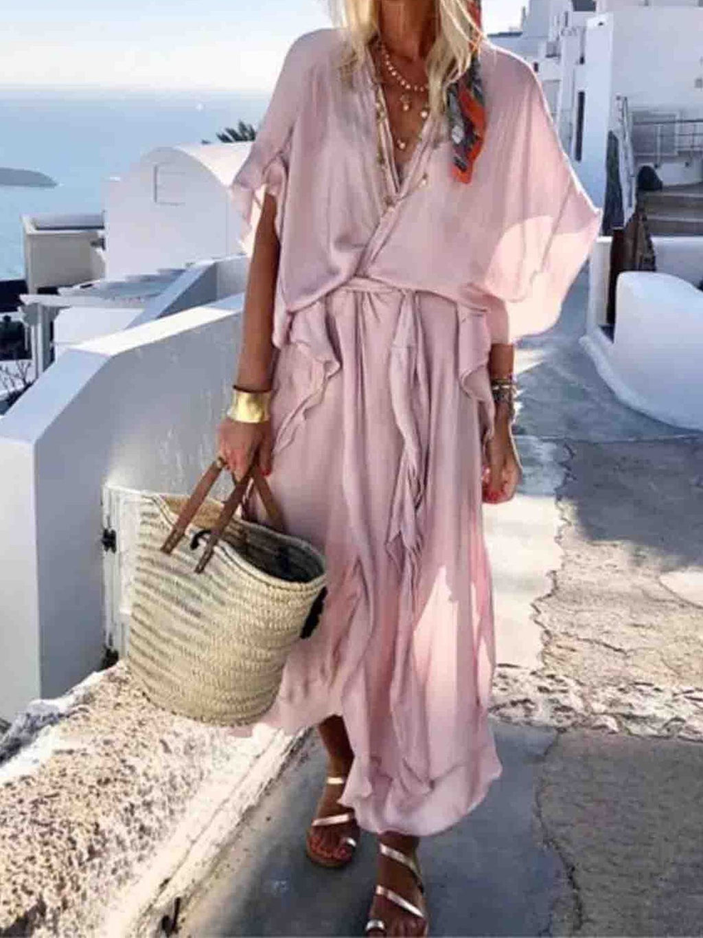 Bagged Loose Solid  Beach Dress