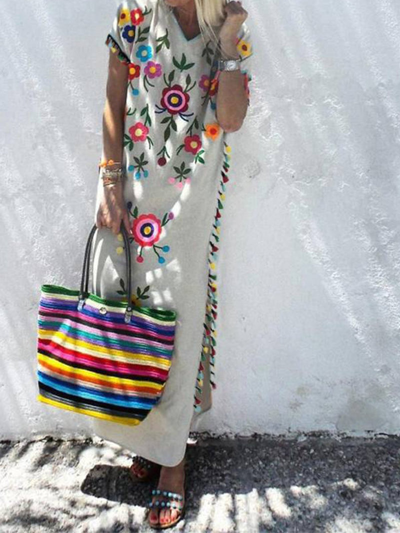 Bohemia Fringe Floral Print V Neck Maxi Dress