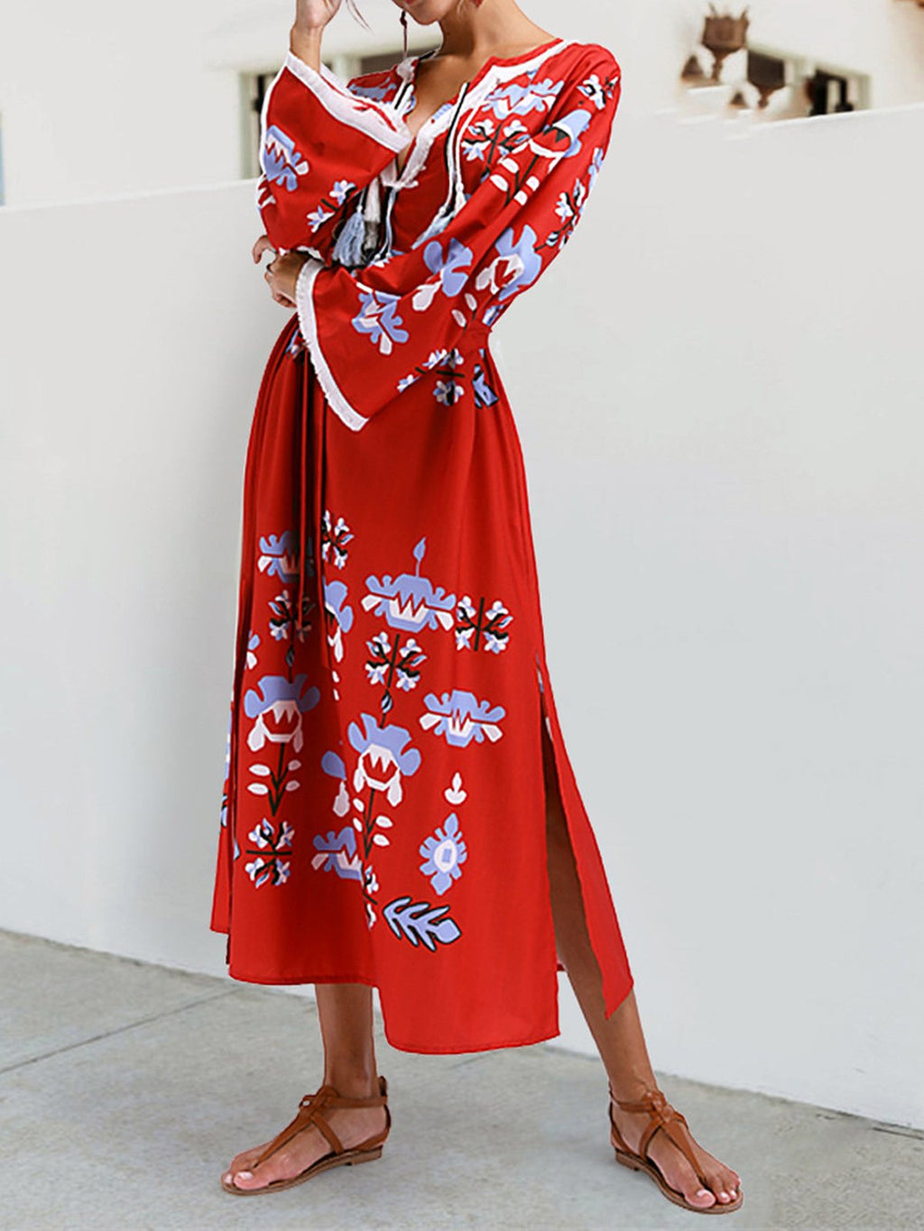 Red Floral Bohemia Folk Style Tassle Long Sleeve Dress