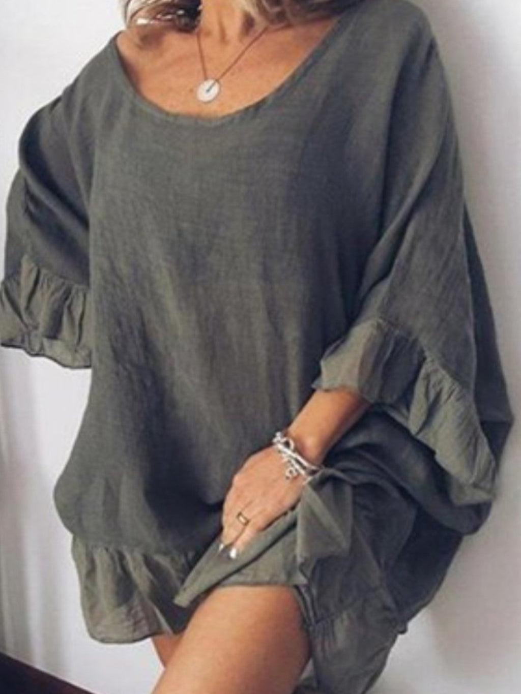Flounce Sleeve Hem Long Sleeve Loose Extro-Long Blouse