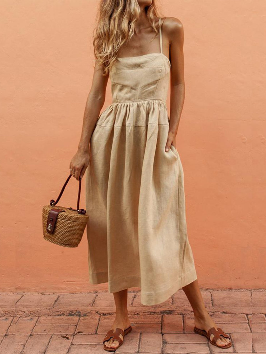 Sexy Suspenders Cotton And Linen Wrapped Chest Brace Skirt Dress
