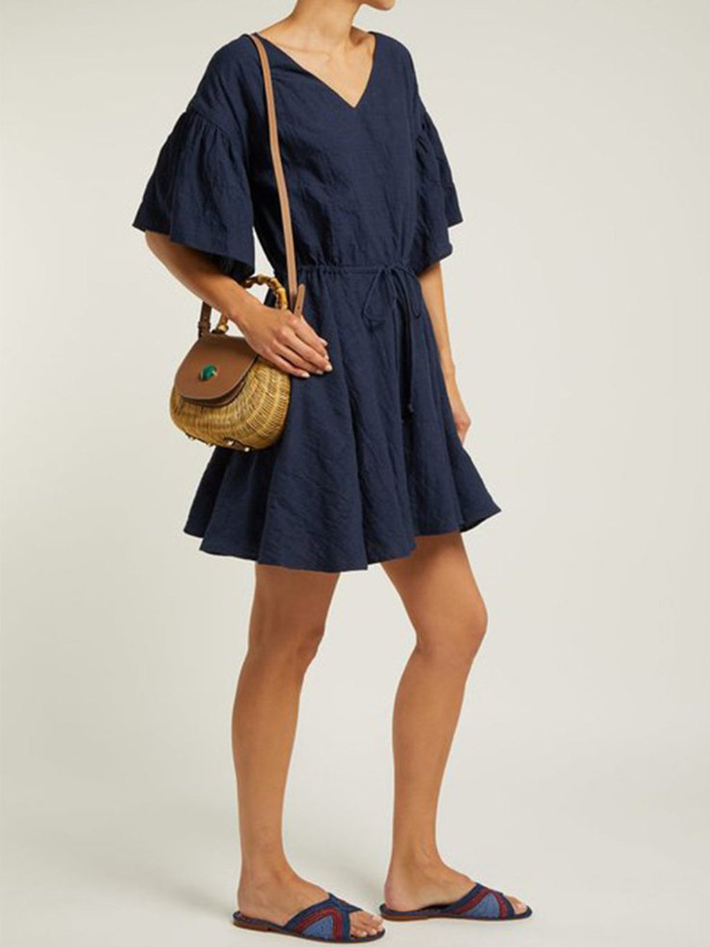 V Neck Belted Flare Sleeve Midi Dress