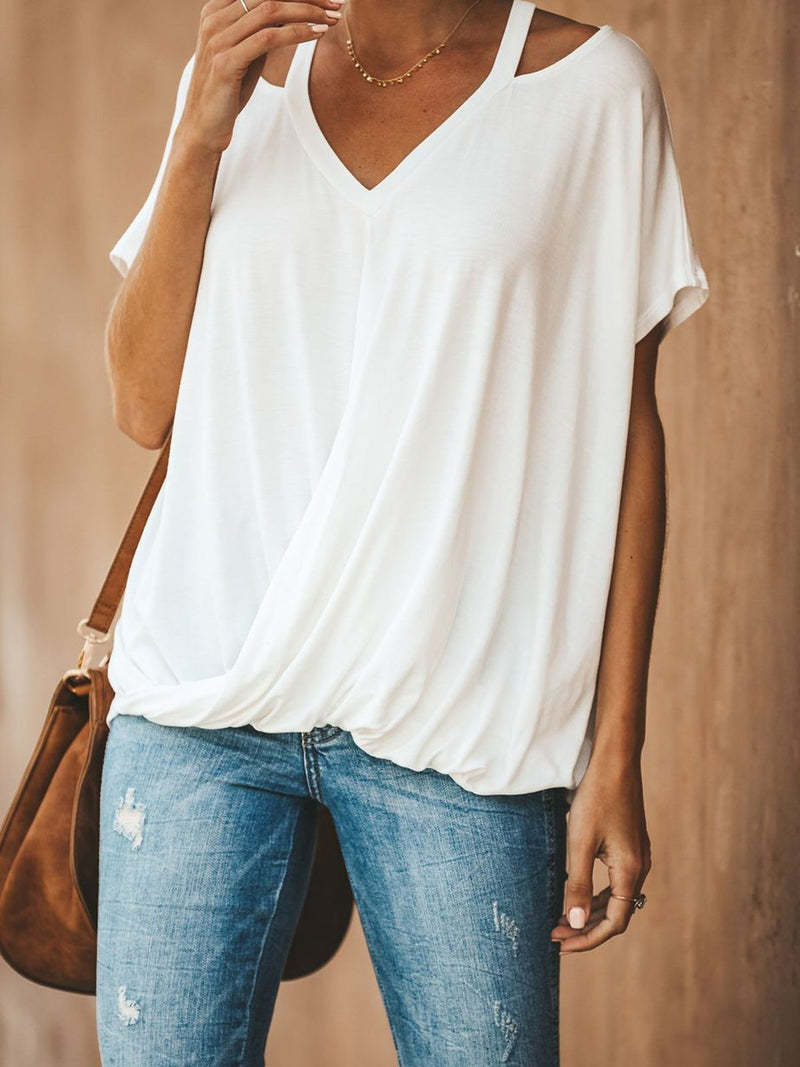 Sling V Neck Short Sleeve Casual Loose Batwing Sleeve Blouse