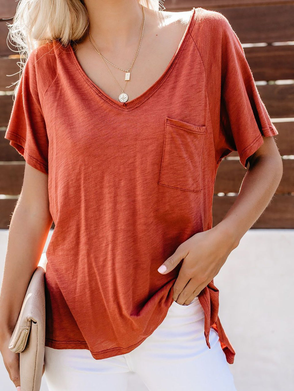 Summer Solid V Neck Patch Pocket Short Sleeve T-Shirt