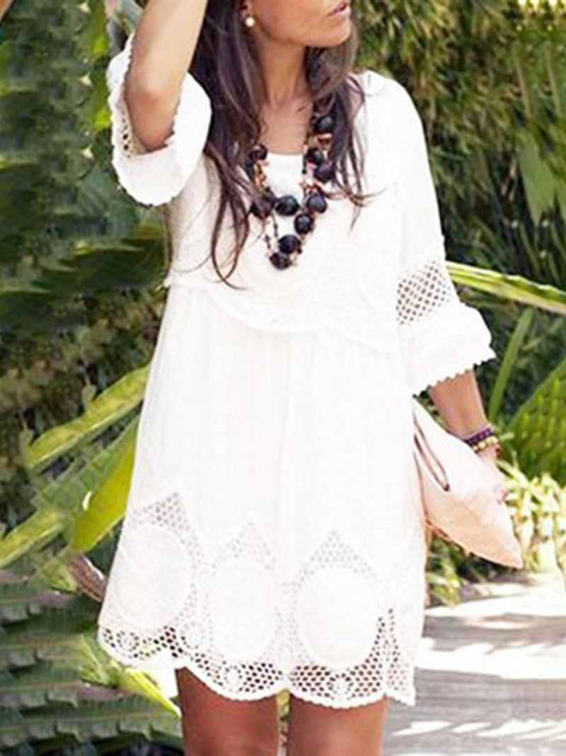 White Plus Size Women\'S White Lace Eyelet Summer Dress