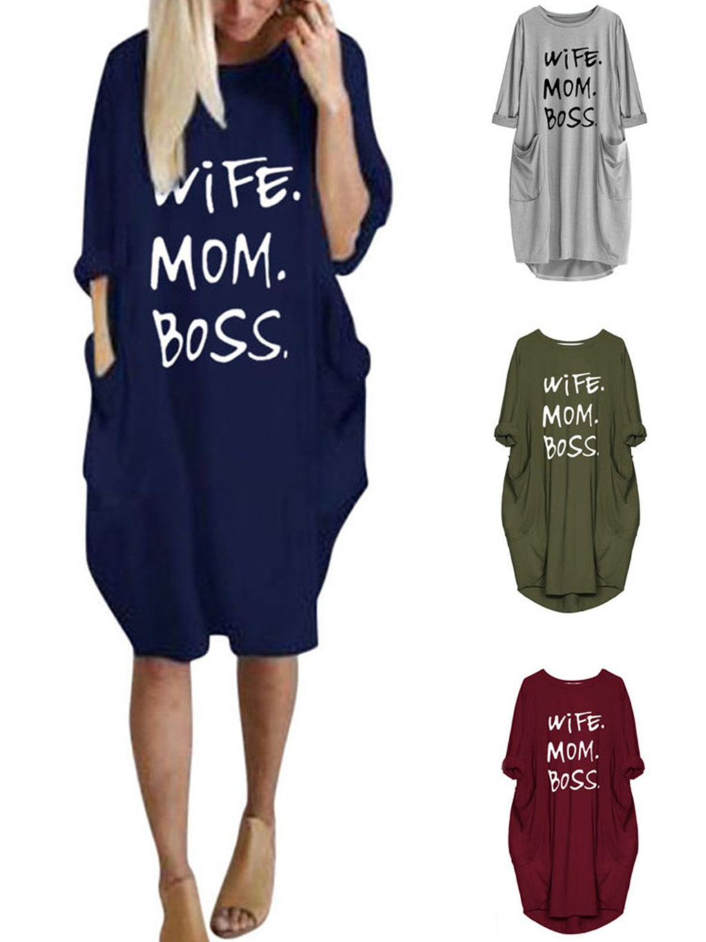 Plus Size Letter Print Round Neck With Pocket Loose Cotton-Blend Dress