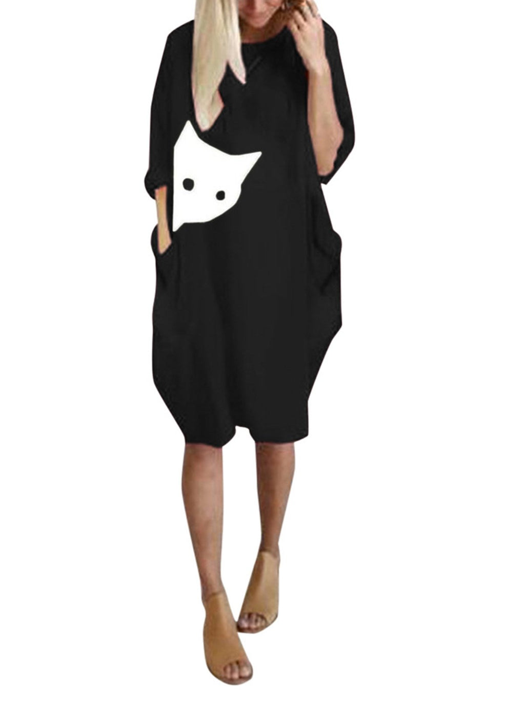 Plus Size Kitten Print Long-Sleeved Pocket Loose Casual Midi Dress