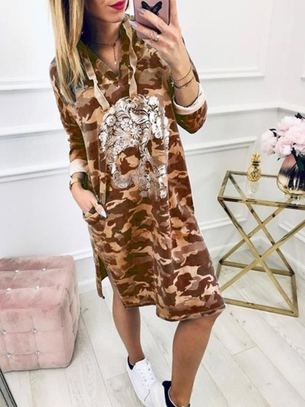 Plus Size Skeleton Print Leopard Print Long Sleeve V Neck Hoodies Dress