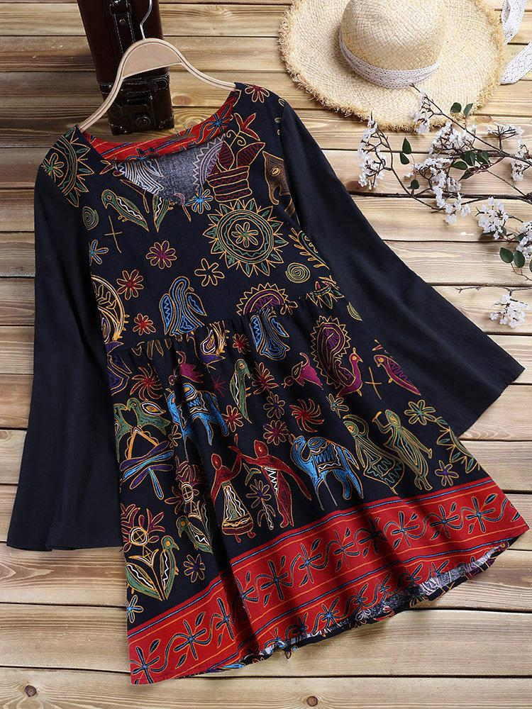 Plus Size Vintage Print Long-Sleeved V Neck Loose Mini Dress
