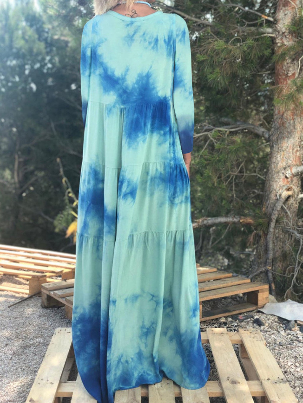 Lightblue Tie-Dye Print Long-Sleeved Bohemia Swing Maxi Dress