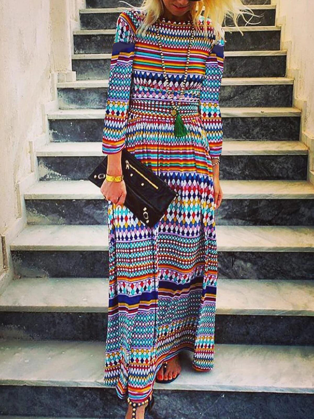 Multicolor Print Round Neck Long-Sleeved Maxi Dress