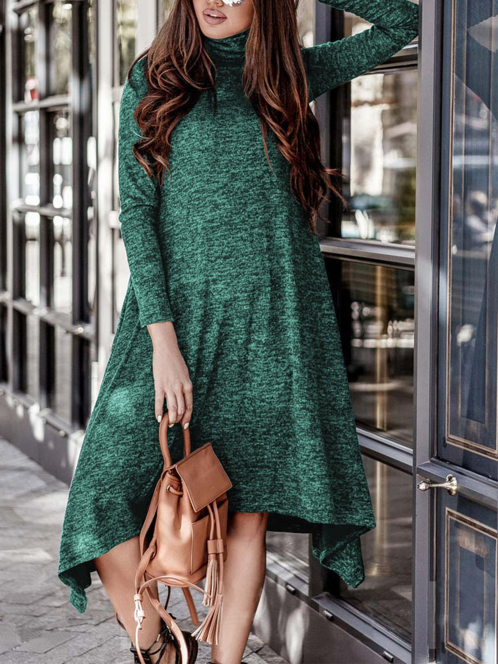 Autumn/Winter Solid Turtle Neck Long-Sleeved Asymmetric Dress