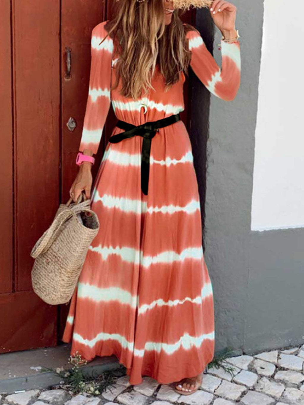 Gradient Stripe Print Long-Sleeved Swing Maxi Dress